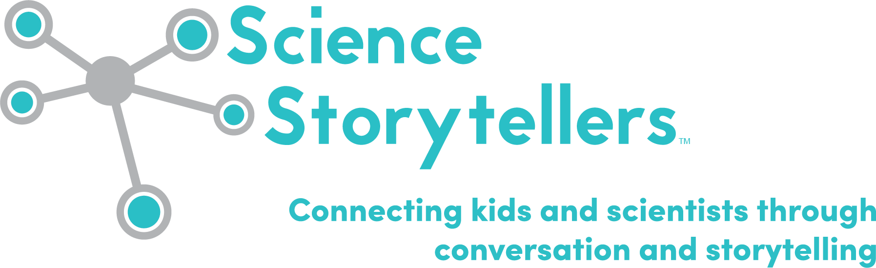 Logo and tagline of Science Storytellers: Connecting kids and scientists through conversation and storytelling.